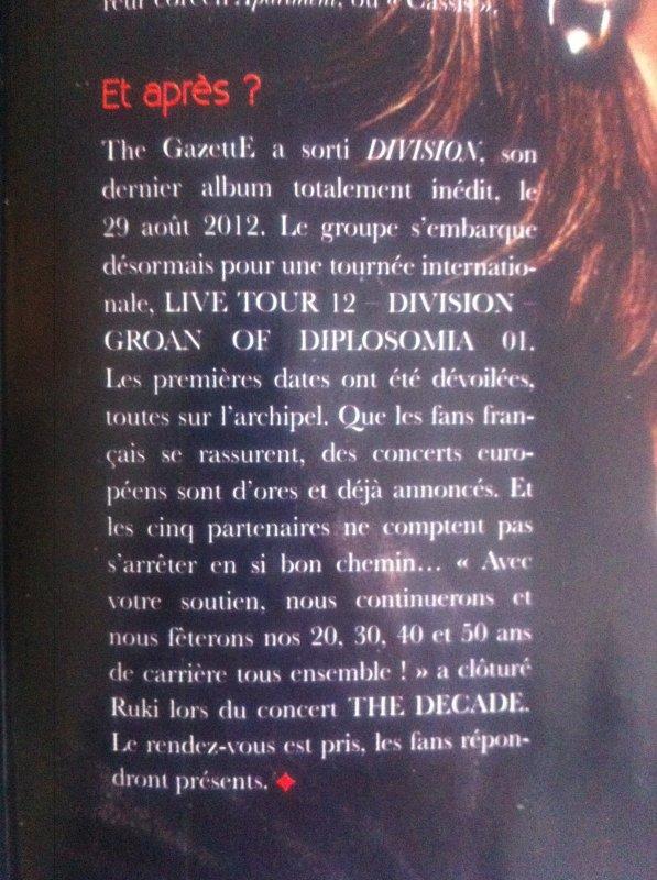 Concert européen  de The GazettE annoncés