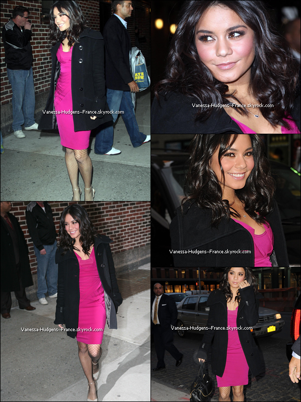 "* 02 Mars 2011 : Vanessa arrivant à l'émission ""Late Show with David Letterman"" dans New York pour la promo' de Beastly. *"