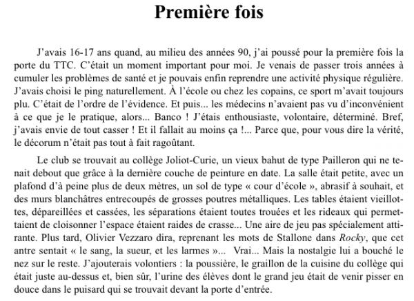 """Extrem Extrait du livre en préparation : """" 40 histoires du tennis de  FK16"""