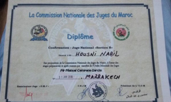 ma confirmation juge nationnal marocain