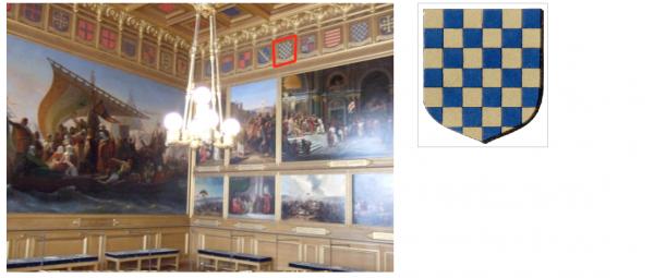 Rez de chaussée - Aile nord - 129 Première salle des croisades - Ecussons - Deuxième croisade  - 29. GUILLAUME DE VARENNES.