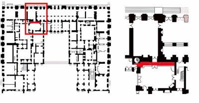 Rez de jardin - Aile centrale - Arrière cabinet du dauphin et de la dauphine - 60 Couloir entre la première et la seconde antichambre