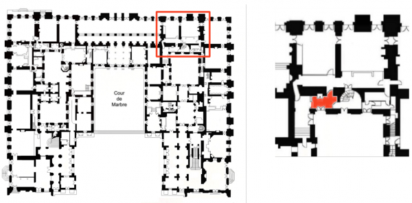 Rez de chaussée - Aile centrale - Divers - 70d Accès appartement capitaine des gardes et vestibule madame victoire