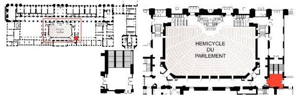 Rez de chaussée - Aile midi - 193 Escalier des commissions.