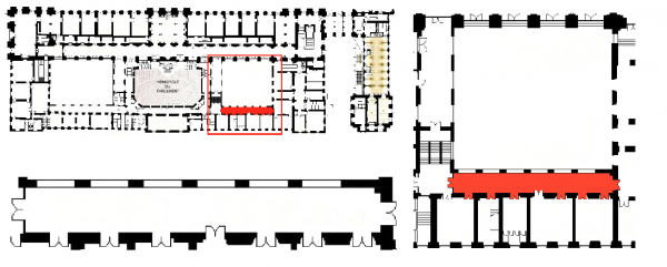 Rez de chaussée - Aile midi - 194 Couloir d'accès aux salles