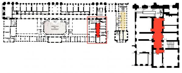 Rez de chaussée - Aile midi -  223 Couloir d'accès aux salles  du restaurant d'Orléans