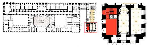 """Aile du midi - RDC - Pavillon Dufour -233  Vestibule sud et accès restaurant """"Ore"""""""
