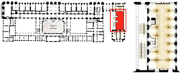 Rez de jardin - Aile du midi - 232 Salle d'accueil - Zone de contrôle.