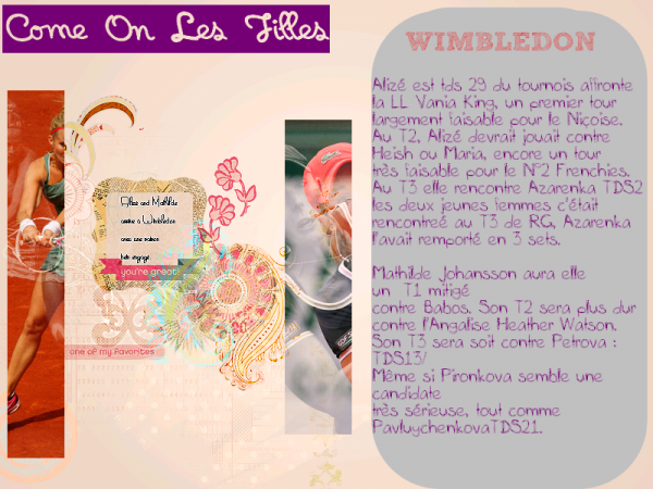 """<Wimbledon> Johansson & Cornet """"Et de 3"""""""