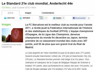 Le Standard 21ème club Mondial !