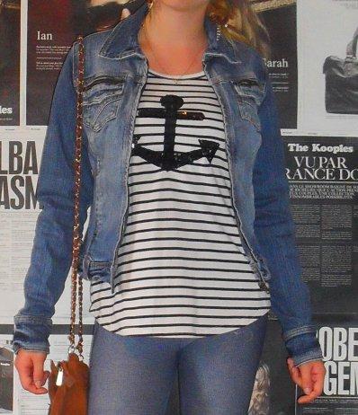 Marinière & veste en jean.
