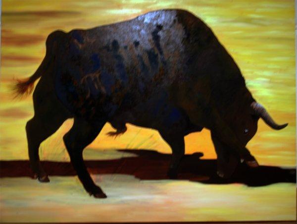 OMBRES DU MAESTRO  huile sur toile 110cms X 150 cms