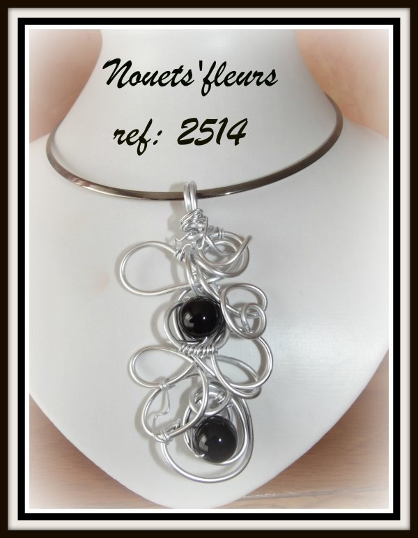 ref: 2514 pendentif argent et perles noires semi précieuses