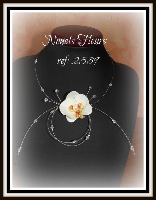 ref: Collier  et pic pour cheveux avec fleurons d'orchidée