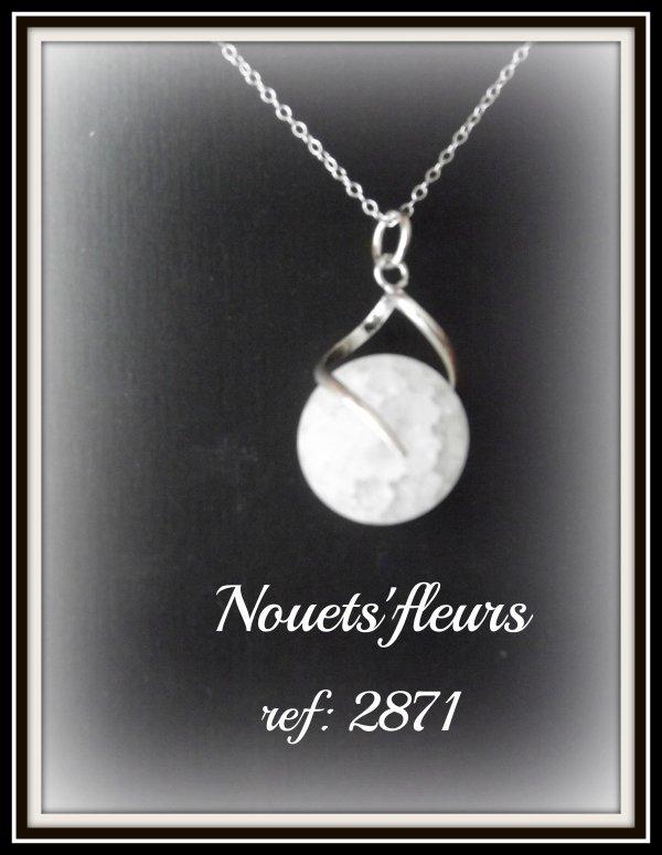 ref: 2871 pendentif argent et perle de roche ( semi précieuse )