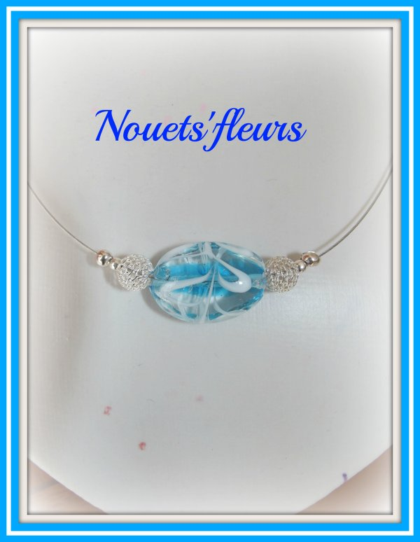 ref: 2905collier perles bleues