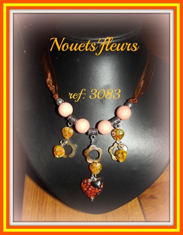 ref: 3083 collier ruban chaînette et fermoir argent