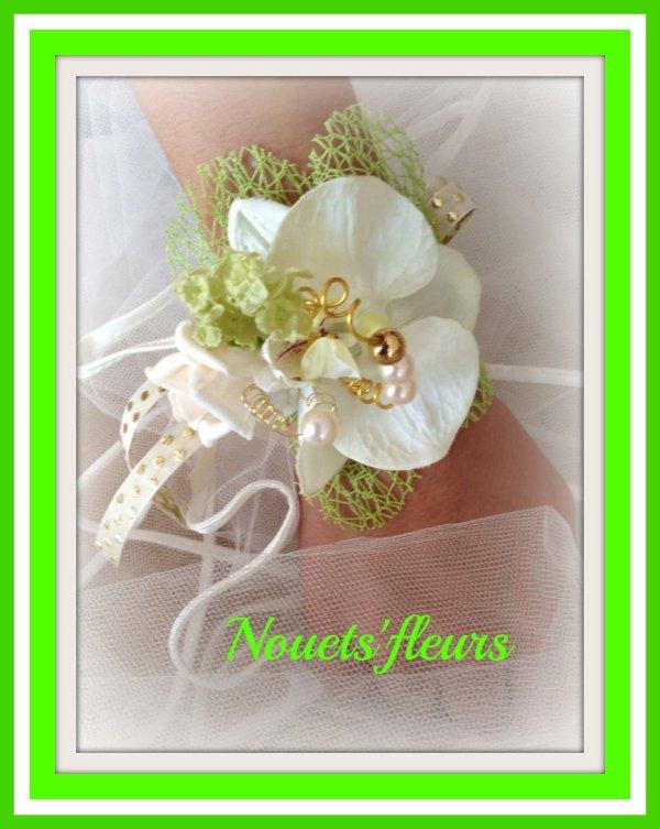 Bracelet fillette , Boutonnière du marié , Bouquet de la mariée