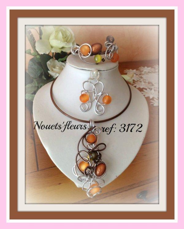 "ref: 3172 parure de bijoux ""choco-orange et argent """