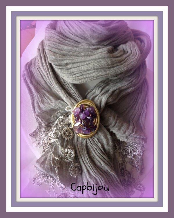 ref: 06 bague améthiste ou bijou de foulard