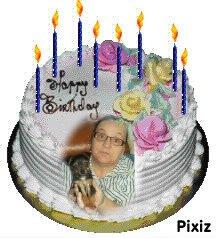 VOICIE DES MONTAGES DES MES AMOURS DE MA VIE ;;;; MOI DANS UN  gâteau d'anniversaire  he oui jai eu 57 ans sa passe vite les année