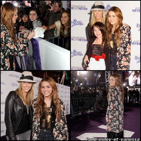Voci des photos de Miley Cyrus à la première du film de Justin Bieber ce mardi 8 février 2011 :