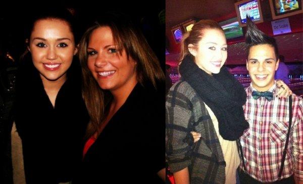 Voici 2 photos de Miley avec ses fans.