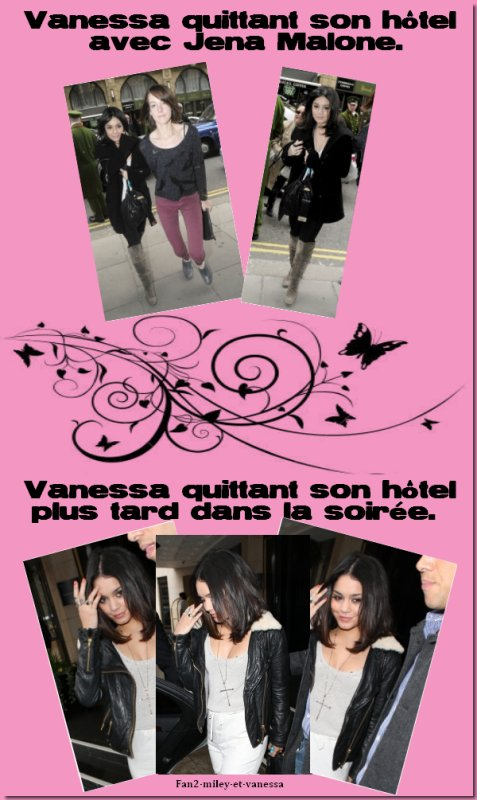 Arrivée à Londres, Vanessa a été vue quittant son hôtel ce mardi 29 mars 2011, au matin, avec Jena Malone, costar dans Sucker Punch. Et elle a également été vue quittant son hôtel plus tard dans la soirée.