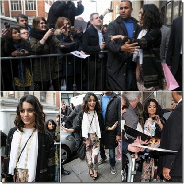 Toujours à Londres, Vanessa continue la tournée des médias anglais pour promouvoir son nouveau film. Elle s'est rendue ce jeudi 31 mars 2011, au matin, dans les studios de la radio anglaise BBC pour une interview et a été vue devant les studios, allant à la rencontre de ses fans. Elle s'est ensuite rendue, dans la soirée, au club burlesque « The Box » avec sa mère Gina.