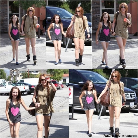 Miley Cyrus est allée prendre un café ce mardi 5 avril 2011, accompagnée de sa petite soeur Noah, au Coffee Bean, à Los Angeles.