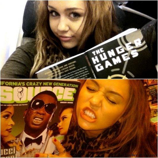Miley a quitté Los Angeles pour aller à Chicago ! Elle y enregistrera une interview pour l'émission « Oprah Winfrey Show » demain. Dans l'avion, on peut voir sur la photo que Miley lit le livre « The Hunger Games », qui sera bientôt adapté au cinéma avec Liam Hemsworth dans le rôle principal. Voici 2 photos personnelles de la miss.