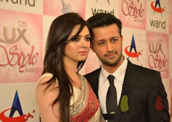 Atif Aslam With His Wife Sara Bharwana in twelfth Lux Style Award Show