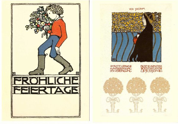 De ma collection de cartes postales rééditions de cartes de l'époque du Wiener Werkstätte