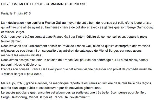 """Communiqué de presse d'Universal au sujet de la polémique sur l'album """" Ma déclaration """" .. ! A lire.. !"""