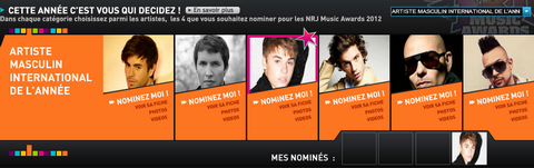NOMINEZ JUSTIN POUR LES NRJ MUSIC AWARDS!
