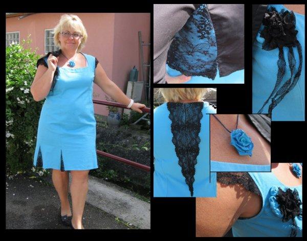 Robe Bleu et sa dentelle noir , Ainsi que sont boléro assortie