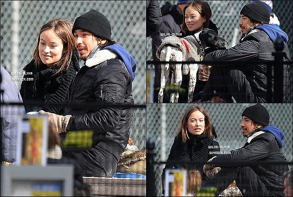 05/03/14 : C'est à New York que Olivia Wilde et un ami ont été aperçue  se promenant avec son chien Paco.