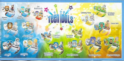Série : 16 	TEEN IDOLS - (podium et carte et autocollant) Kinder Joys