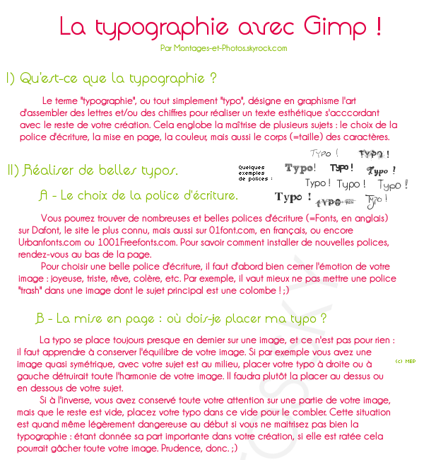 Tuto 17 : Dossier sur la Typographie.