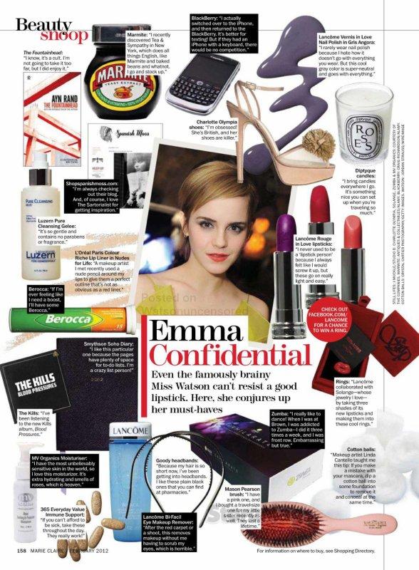 BEAUTY SCOOP : Marie Claire nous révèle les essentiels d'Emma Watson !