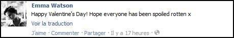 Message de Emma sur Twitter et Facebook .