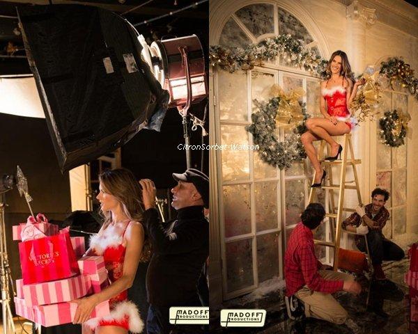 Photo Behind the scène de la vidéo de Noël de Victoria Secret avec Doutzen, Alessandra et Miranda
