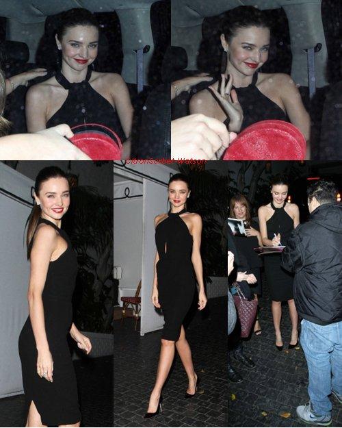 Le 09-10-11 Janvier : Miranda a été vue à un diner pour Dior au Château Marmont,puis à un photoshoot à Beverly Hills et à un cocktail pour la compagnie aériène Qantas Airways + Une vidéo des meilleures tenues de Miranda pour l'année 2012...
