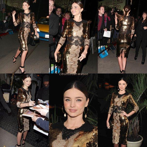 Le 11.01.13 : Miranda a assisté au W Magazine et Dom Pérignon Pre-Golden Globes Party qui était tenue au Chateau Marmont, à Los Angeles...