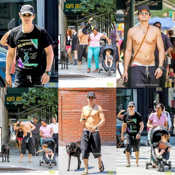Le 16.07.13 : Orlando se baladant (Heu Torse nu?) dans les rues de New-York avec Flynn et sa nounou...