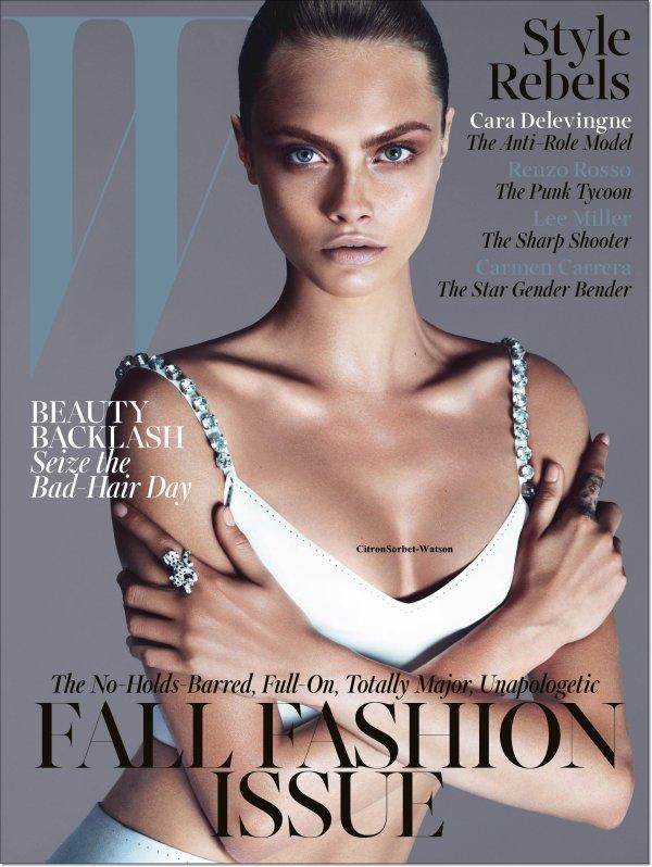 """Cara Delevingne en couverture du magazine """"W"""" de Septembre..."""