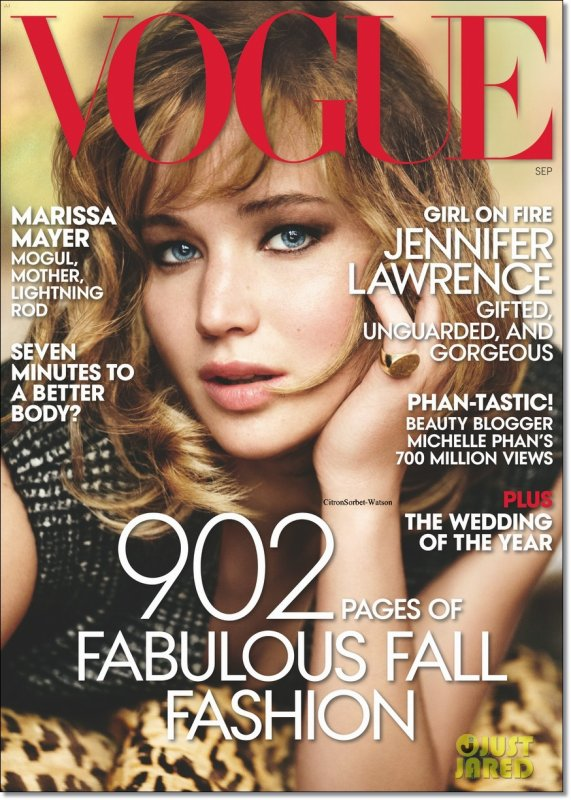 Jennifer Lawrence pour le Vogue de Septembre...