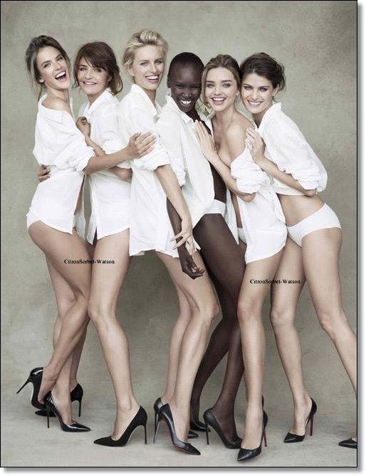 Alessandra,Miranda,Helena,Alek,Karolina et Isabeli ont posés pour le calendrier Pirelli 2014...