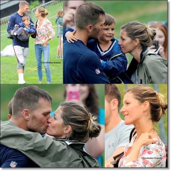 Le 13.08.13 : Gisèle accompagnée de l'un de leurs enfants était allée soutenir son mari Tom à Foxborough...