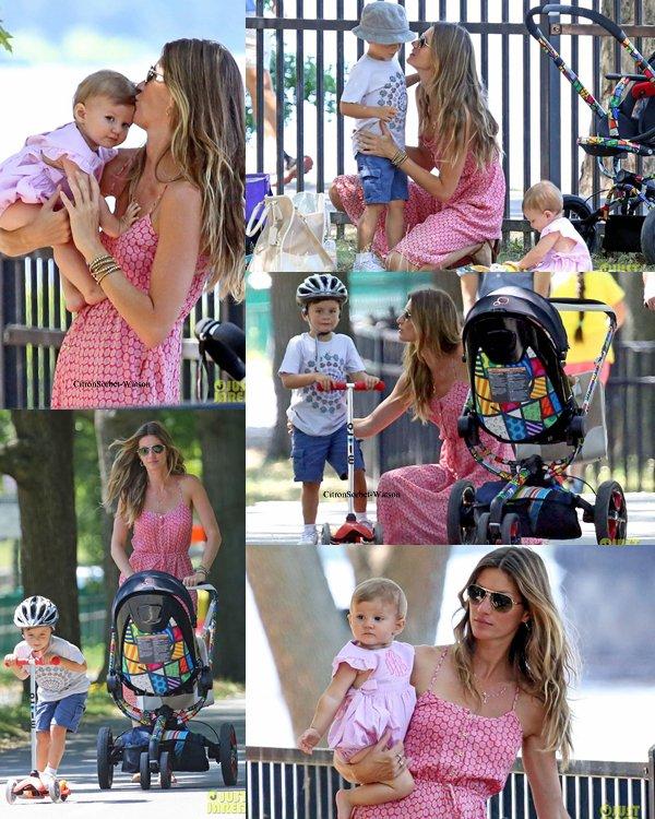 Le 27.08.13 : Gisèle et ses deux enfants Benjamin et Vivian se sont baladés dans un parc à Boston...